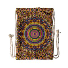 Wood Festive Rainbow Mandala Drawstring Bag (small) by pepitasart
