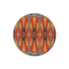 Geometric Extravaganza Pattern Rubber Round Coaster (4 Pack)  by linceazul