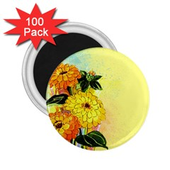 Background Flowers Yellow Bright 2 25  Magnets (100 Pack)
