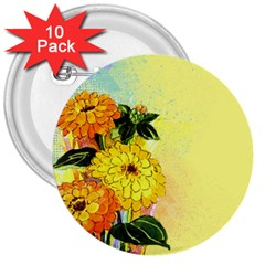 Background Flowers Yellow Bright 3  Buttons (10 Pack)