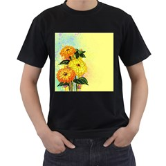 Background Flowers Yellow Bright Men s T Shirt (black) (two Sided)