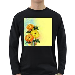 Background Flowers Yellow Bright Long Sleeve Dark T Shirts