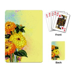 Background Flowers Yellow Bright Playing Card by Nexatart