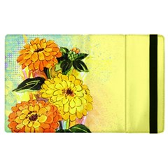 Background Flowers Yellow Bright Apple Ipad 3/4 Flip Case by Nexatart