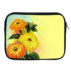 Background Flowers Yellow Bright Apple Ipad 2/3/4 Zipper Cases