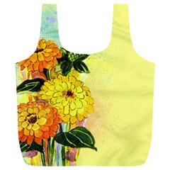 Background Flowers Yellow Bright Full Print Recycle Bags (l)