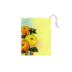 Background Flowers Yellow Bright Drawstring Pouches (xs)  by Nexatart