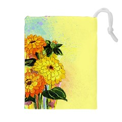 Background Flowers Yellow Bright Drawstring Pouches (extra Large) by Nexatart
