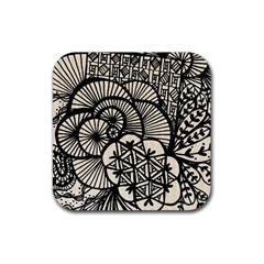 Background Abstract Beige Black Rubber Coaster (square)