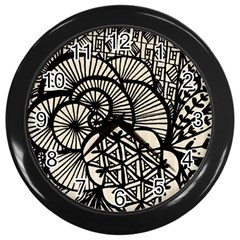 Background Abstract Beige Black Wall Clocks (black) by Nexatart