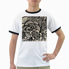 Background Abstract Beige Black Ringer T Shirts by Nexatart