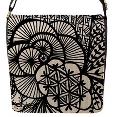 Background Abstract Beige Black Flap Messenger Bag (s)