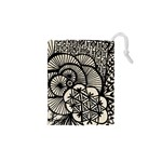 Background Abstract Beige Black Drawstring Pouches (XS)  Front