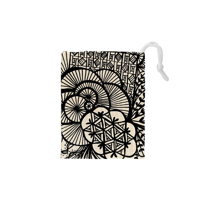Background Abstract Beige Black Drawstring Pouches (XS)