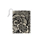 Background Abstract Beige Black Drawstring Pouches (XS)  Back