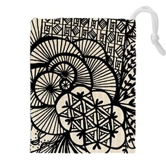 Background Abstract Beige Black Drawstring Pouches (xxl) by Nexatart