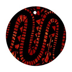 Background Abstract Red Black Round Ornament (two Sides)