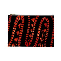 Background Abstract Red Black Cosmetic Bag (large)