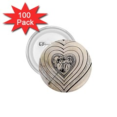 Heart Drawing Angel Vintage 1 75  Buttons (100 Pack)