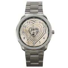 Heart Drawing Angel Vintage Sport Metal Watch