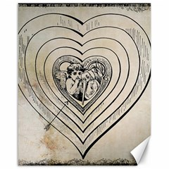 Heart Drawing Angel Vintage Canvas 16  X 20