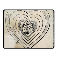 Heart Drawing Angel Vintage Double Sided Fleece Blanket (small)