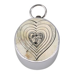 Heart Drawing Angel Vintage Mini Silver Compasses