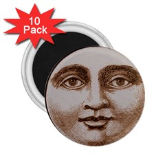 Moon Face Vintage Design Sepia 2 25  Magnets (10 Pack)