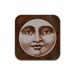 Moon Face Vintage Design Sepia Rubber Coaster (square)