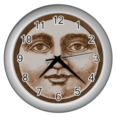 Moon Face Vintage Design Sepia Wall Clocks (silver)  by Nexatart