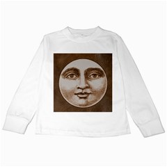 Moon Face Vintage Design Sepia Kids Long Sleeve T Shirts