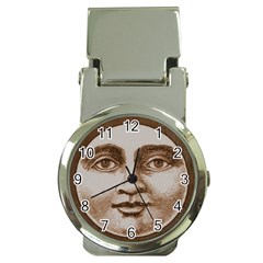 Moon Face Vintage Design Sepia Money Clip Watches