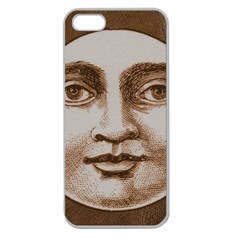 Moon Face Vintage Design Sepia Apple Seamless Iphone 5 Case (clear)