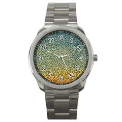 Background Cubism Mosaic Vintage Sport Metal Watch by Nexatart