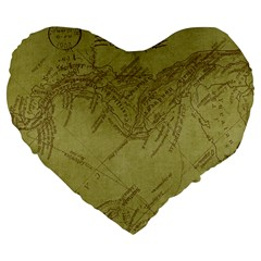 Vintage Map Background Paper Large 19  Premium Flano Heart Shape Cushions by Nexatart