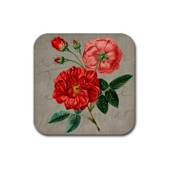 Flower Floral Background Red Rose Rubber Coaster (square)  by Nexatart