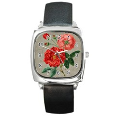 Flower Floral Background Red Rose Square Metal Watch
