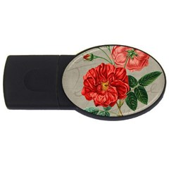 Flower Floral Background Red Rose Usb Flash Drive Oval (4 Gb)