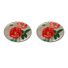 Flower Floral Background Red Rose Cufflinks (oval) by Nexatart
