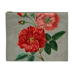 Flower Floral Background Red Rose Cosmetic Bag (xl)