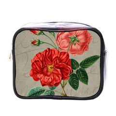 Flower Floral Background Red Rose Mini Toiletries Bags