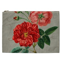 Flower Floral Background Red Rose Cosmetic Bag (xxl)