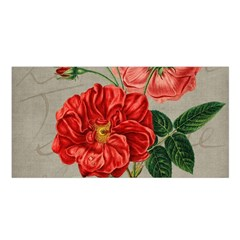 Flower Floral Background Red Rose Satin Shawl