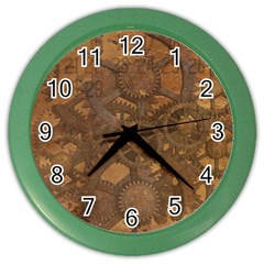 Background Steampunk Gears Grunge Color Wall Clocks by Nexatart