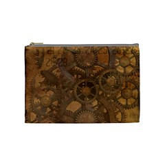 Background Steampunk Gears Grunge Cosmetic Bag (medium)  by Nexatart