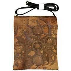 Background Steampunk Gears Grunge Shoulder Sling Bags by Nexatart