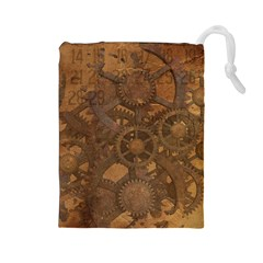 Background Steampunk Gears Grunge Drawstring Pouches (large)  by Nexatart