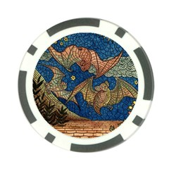 Bats Cubism Mosaic Vintage Poker Chip Card Guard