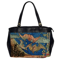 Bats Cubism Mosaic Vintage Office Handbags (2 Sides)  by Nexatart