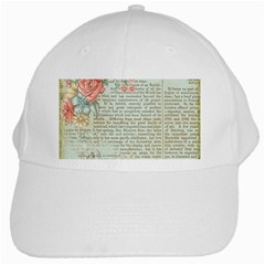 Vintage Floral Background Paper White Cap